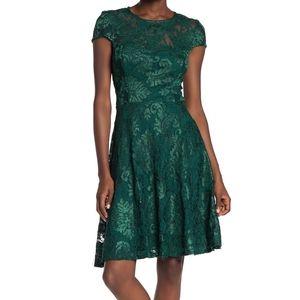 Marina Lace Cap Sleeve Fit&Flare Hunter Dress